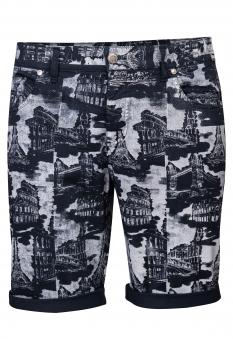 Pantaloni scurti slim bigotti bleumarin print geometric