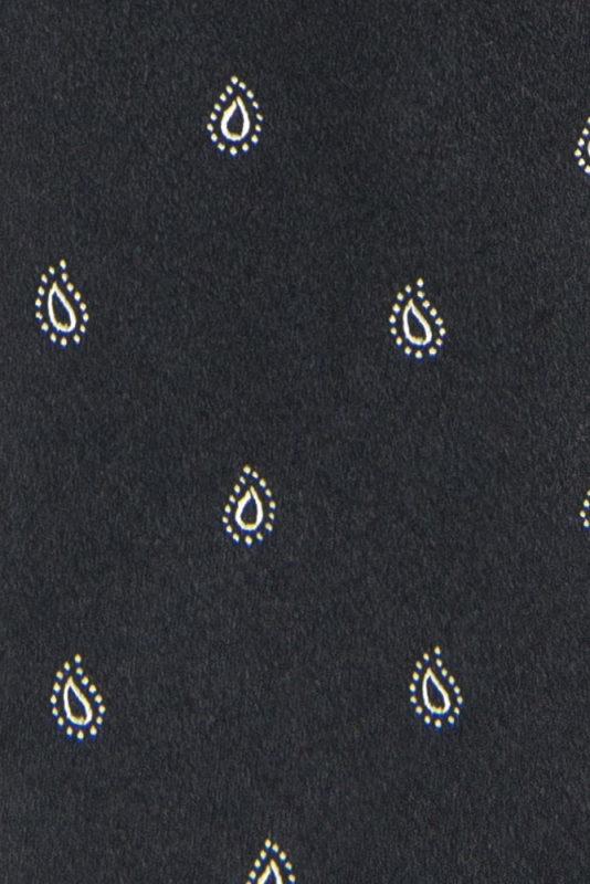 Cravata matase tesuta neagra print floral