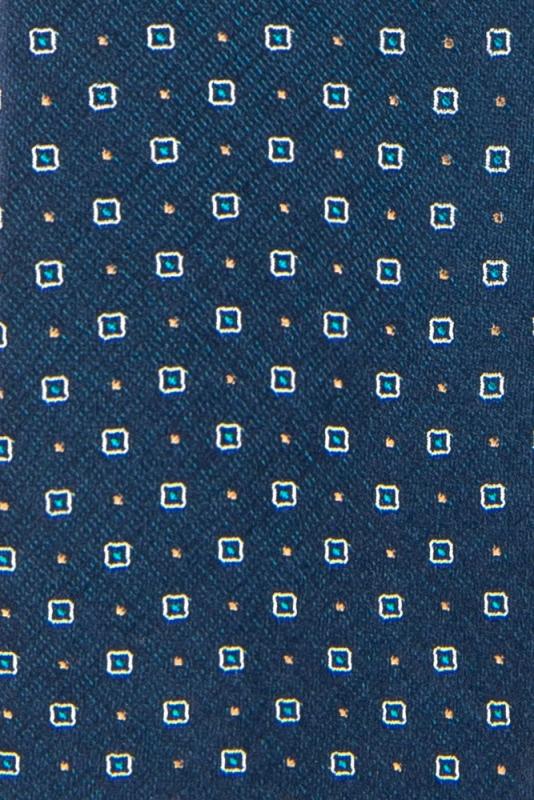 Cravata matase tesuta bleumarin print geometric