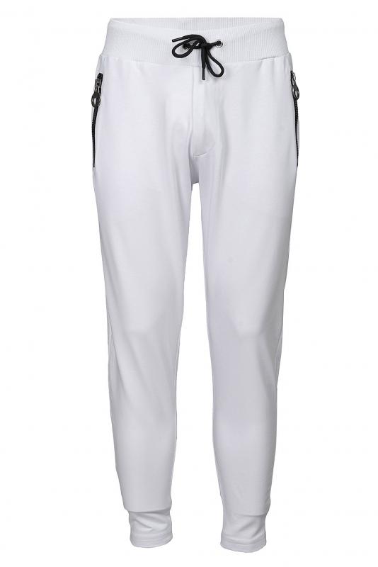 Pantaloni trening slim albi