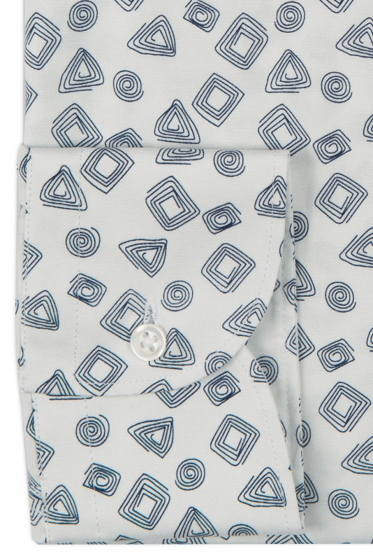 Camasa regular alba print geometric