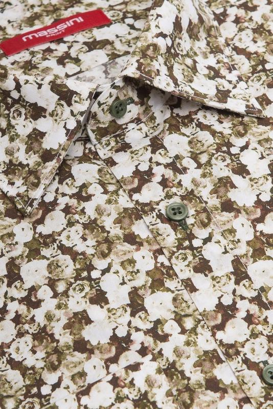 Camasa superslim kaki print floral