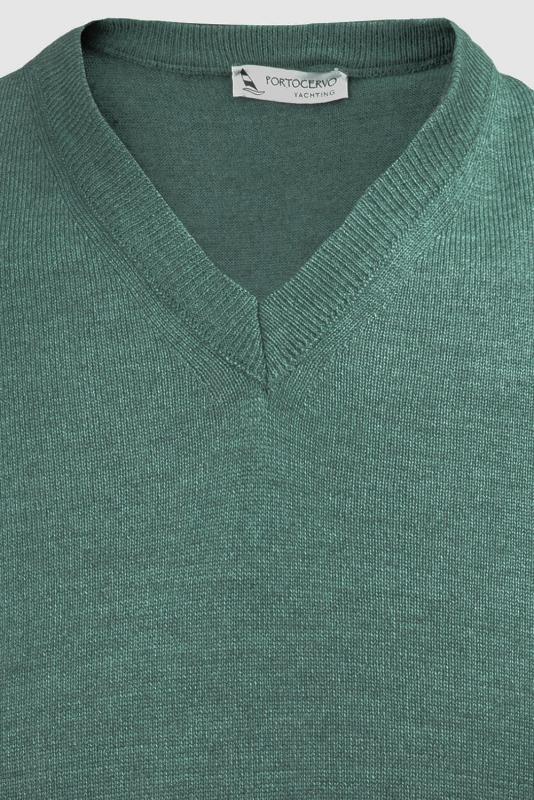 Pulover slim verde v
