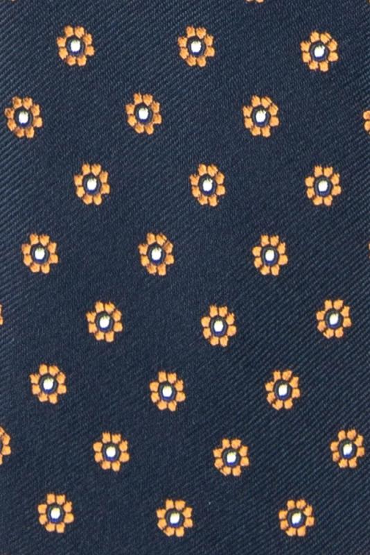 Cravata poliester tesut bleumarin print floral