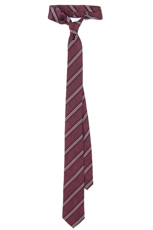Cravata matase tesuta grena cu dungi