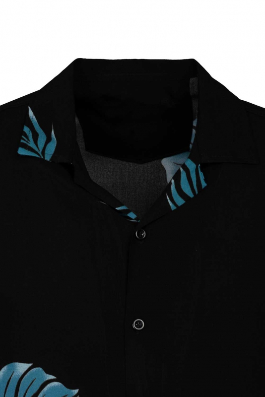 Camasa vascoza slim maneca scurta neagra frunze
