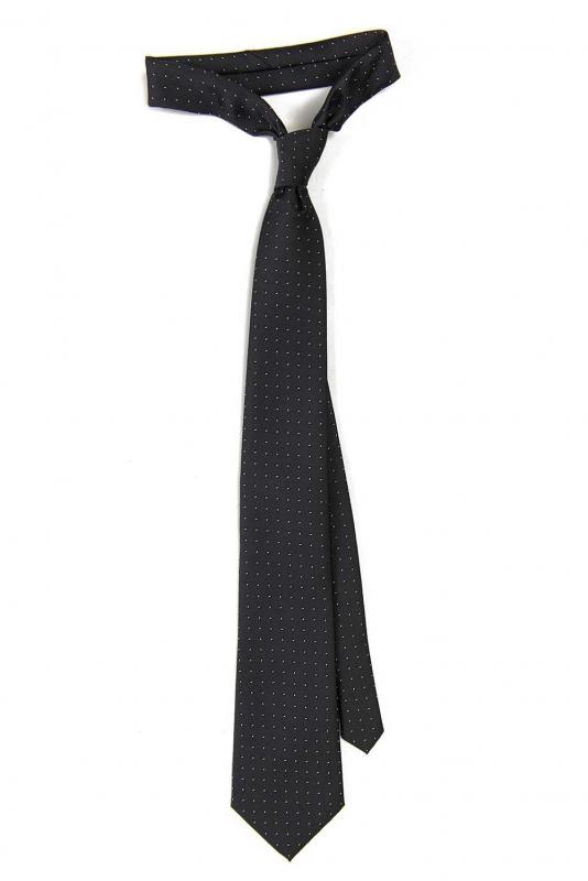 Cravata poliester tesut bleumarin puncte
