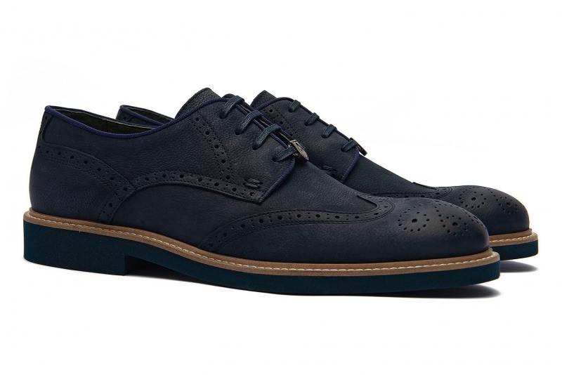 Pantofi albastri piele naturala