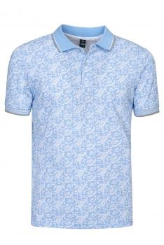 Tricou polo slim bleu print