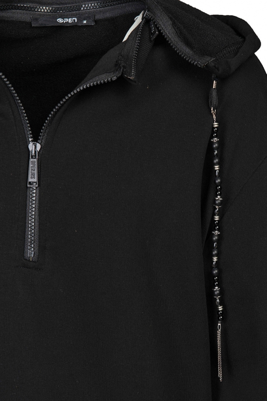 Hanorac oversize negru cu gluga
