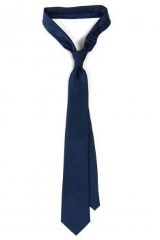 Cravata poliester tesut albastra uni