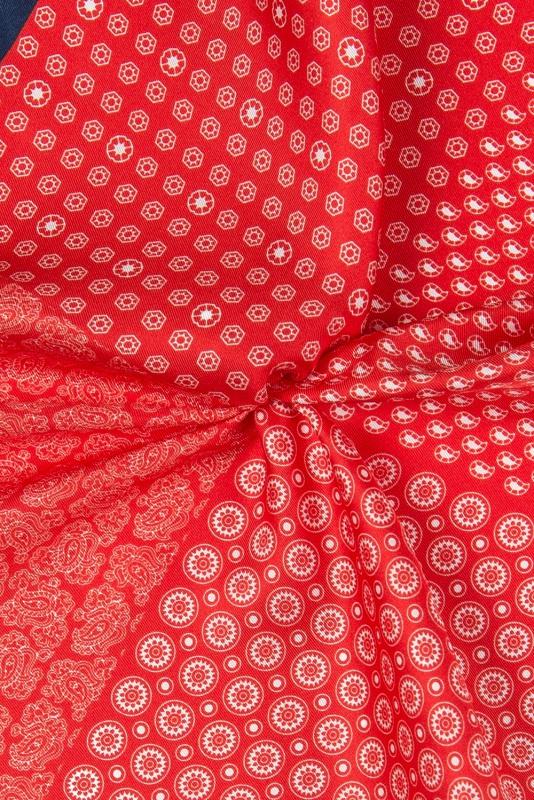 Batista rosu print geometric matase imprimata