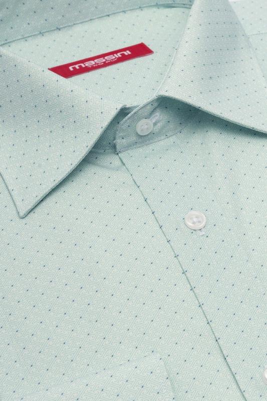 Camasa regular verde print geometric