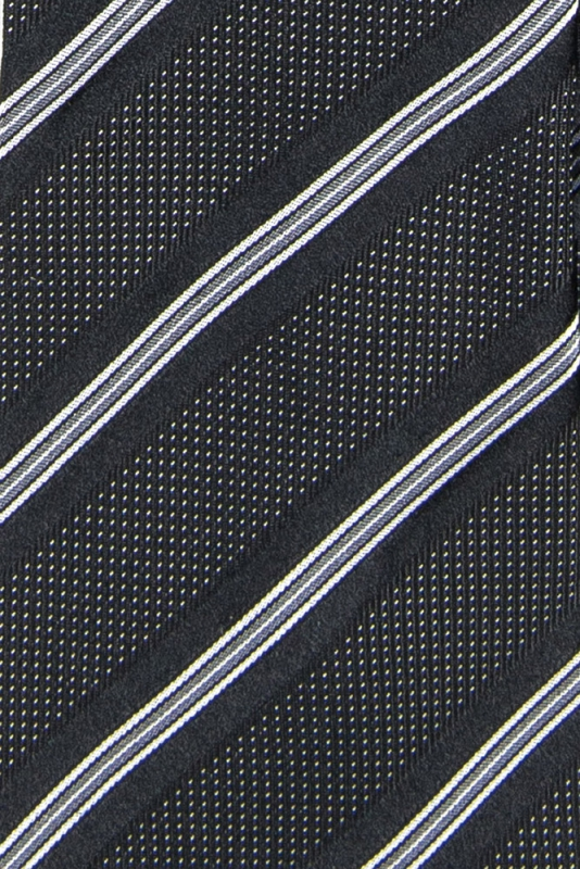 Cravata matase tesuta neagra cu dungi