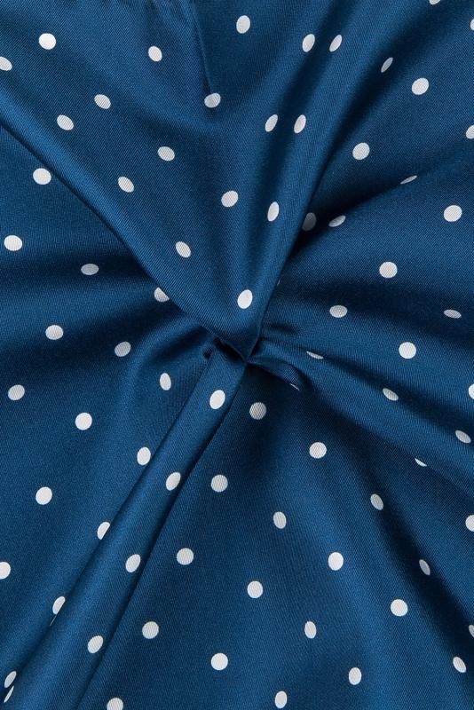 Batista bleumarin print geometric matase imprimata
