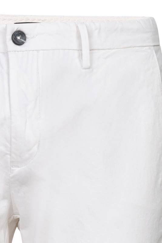 Pantaloni slim alb albi uni