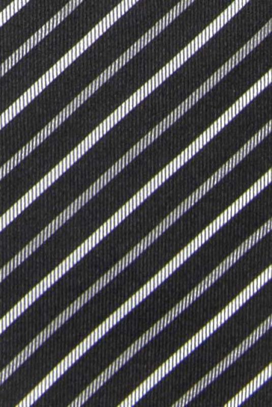 Cravata matase tesuta neagra dungi
