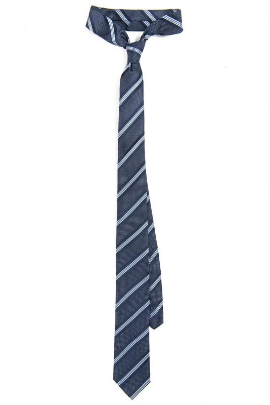 Cravata matase tesuta bleumarin cu dungi