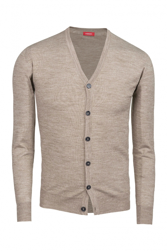 Cardigan slim bej in V