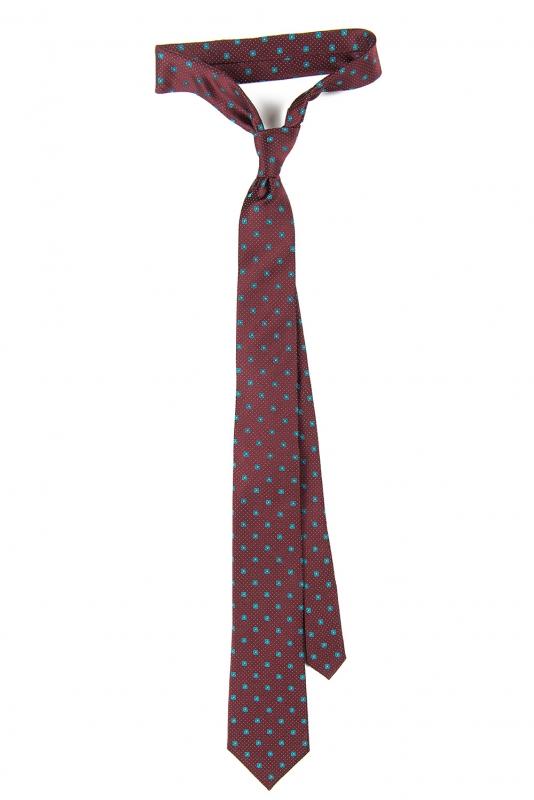 Cravata matase tesuta grena print floral