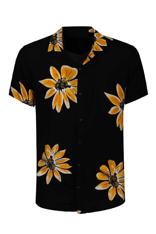 Camasa vascoza slim maneca scurta neagra flori