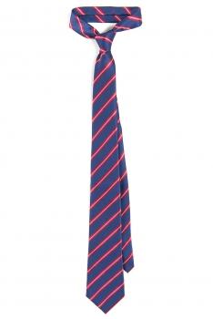 Cravata poliester tesut albastra cu dungi