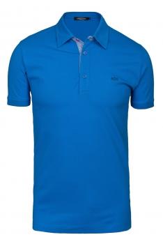 tricou polo slim albastru