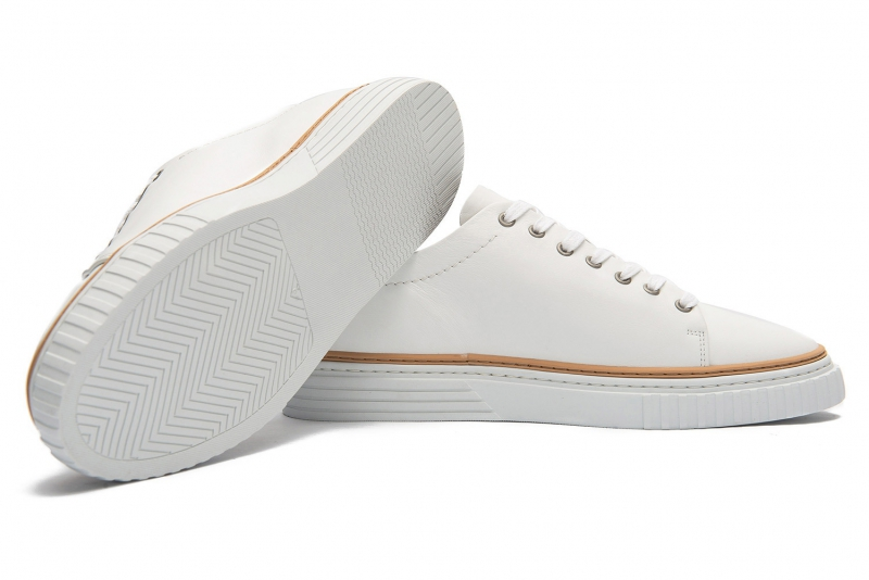 Sneakers Bigotti albi piele naturala