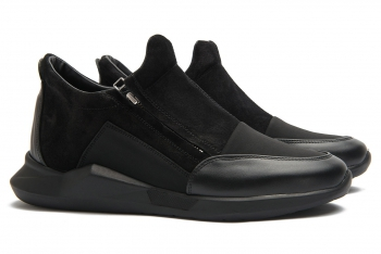 Sneakers Bigotti negri piele naturala, textil si nabuc