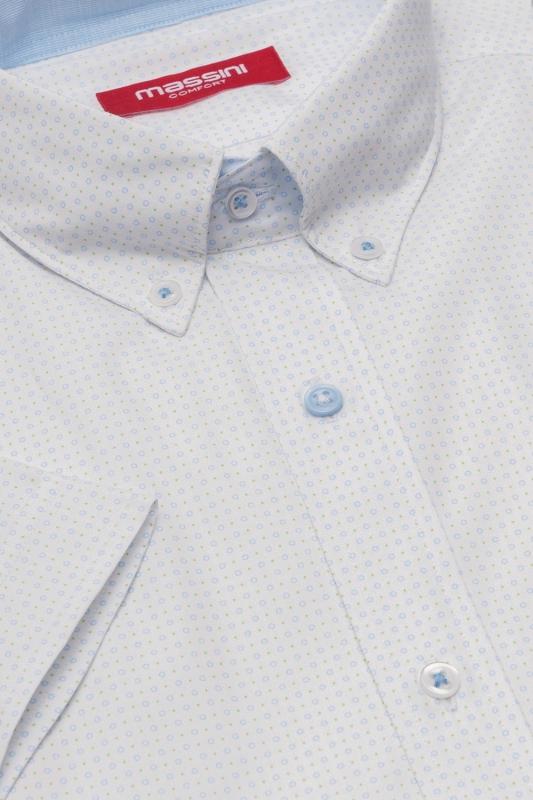 Camasa cu maneca scurta superslim alba print geometric