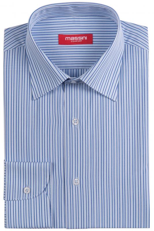 camasa regular bleu cu dungi