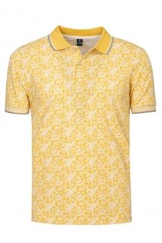 Tricou polo slim galben print