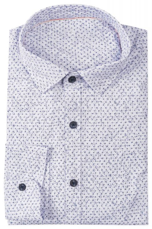 Camasa slim alba print geometric