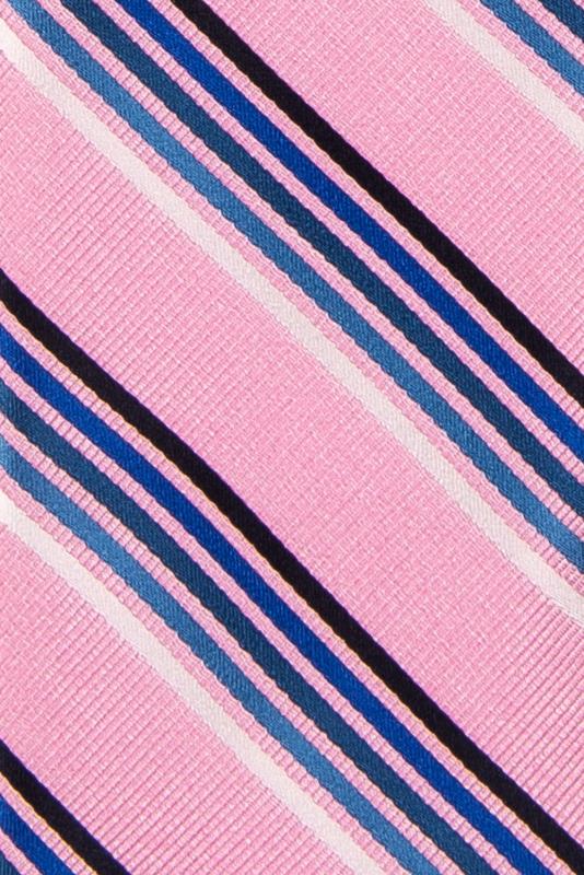 Cravata poliester roz cu dungi