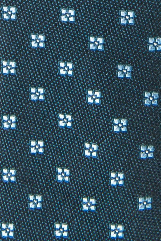 Cravata poliester tesut verde print floral