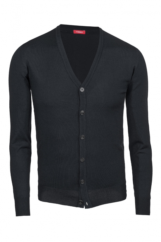 Cardigan slim negru in V