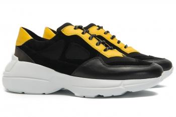 Sneakers Bigotti negri piele mata, piele velurata si neopren