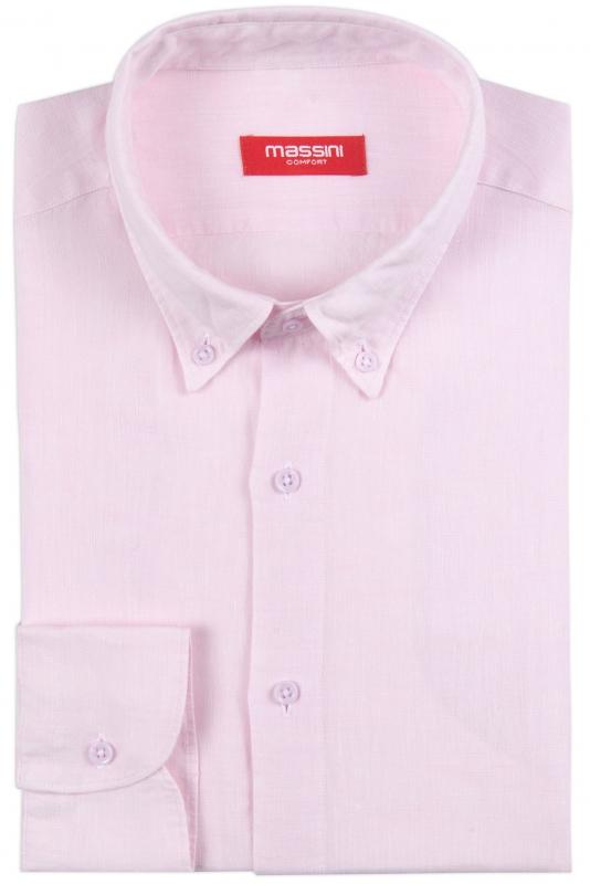 Camasa din in superslim roz uni