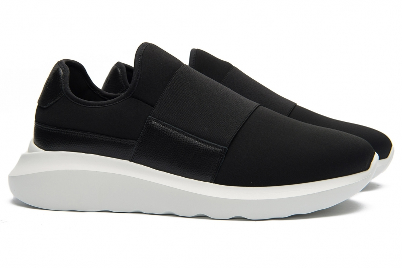 Sneakers Bigotti negri piele si textil