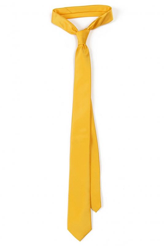 Cravata poliester tesut galbena uni