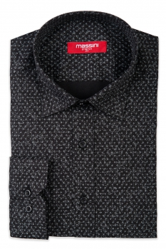Camasa neagra slim print geometric