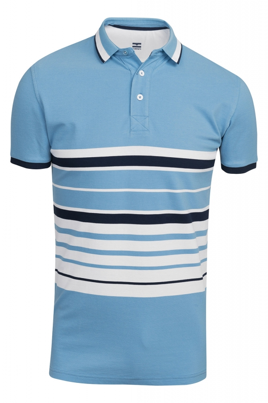 tricou polo slim bleu cu dungi