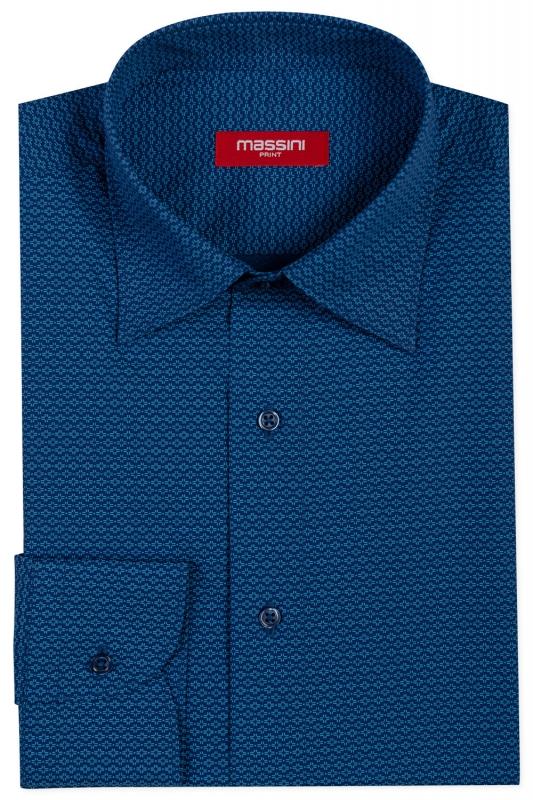 Camasa regular albastra print geometric