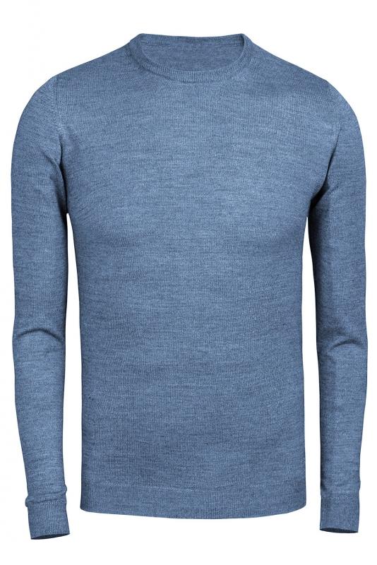 Pulover bleu guler rotund