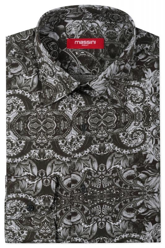 Camasa regular neagra print floral