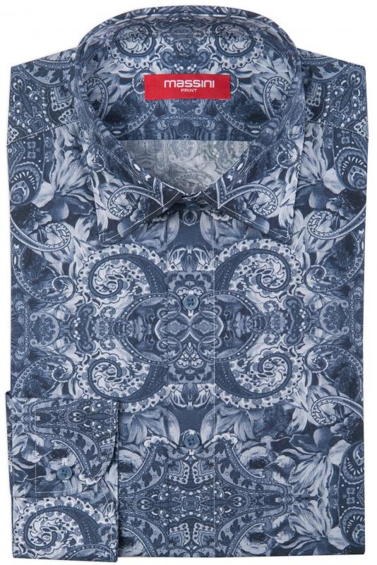 Camasa slim albastra print floral