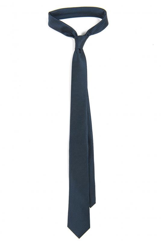 Cravata poliester tesut bleumarin print geometric