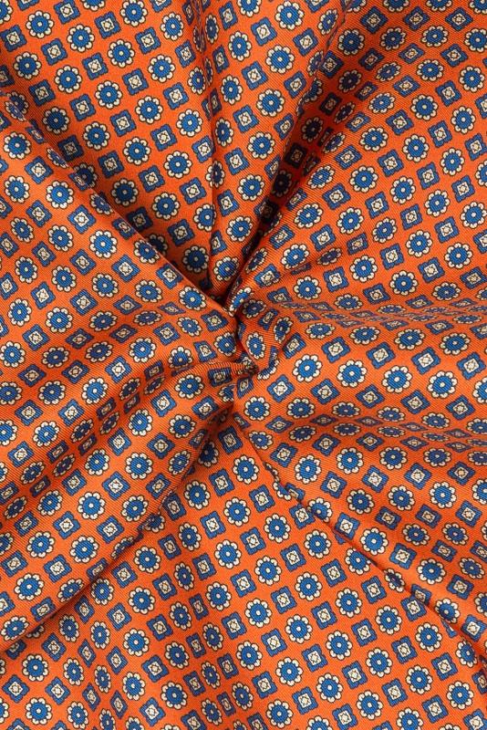 Batista portocalie print geometric matase imprimata