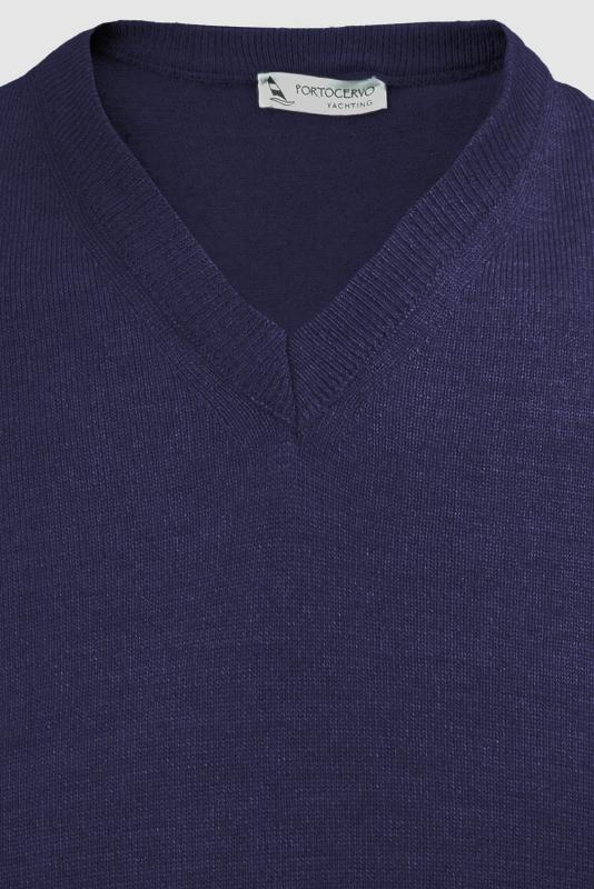 Pulover slim albastru cobalt v