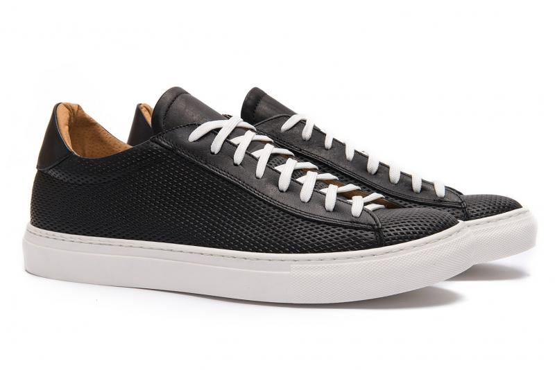 Sneakers negru piele naturala